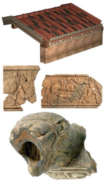 Tokio stogo konstrukcijos elementuose archeologai aptiko daugiausiai sufleruojančių žymių.