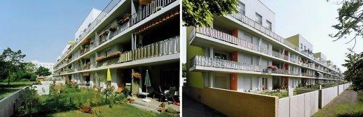 Pirmųjų aukštų namų gyventojų naudojamos erdvės prie renovuotų namų. Leinefelde, VFR (projektavo arch. Stefan Forster biuras).