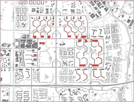Principinė urbanistinės struktūros kaita Amterdamo Bijlmermeer rajone. Viršuje kairėje – 1992–2010 m. nugriautas užstatymas. Viršuje dešinėje – naujai suformuota smulkesnio mastelio struktūra. Apačioje - užstatymo struktūros kaita.